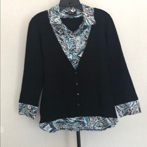 Cute Style & Co. black sweater w button up blouse